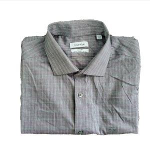 Calvin Klein Mens Button Down Slim Fit Gray Shirt